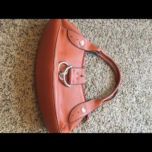 Other - Rust/orange leather baguette purse w/silver accent